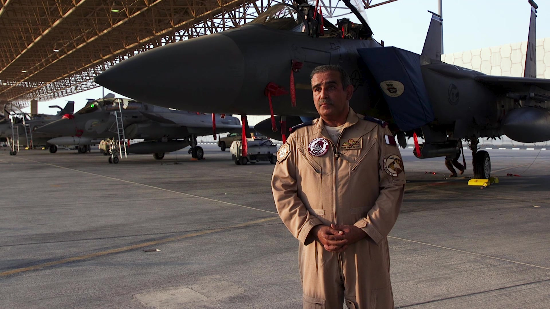 A news highlight video explaining the Qatar and U.S. Air Forces Central Command Friendship Event and the purpose of it - to showcase the F-15E to Qatar Emiri top leadership as they are preparing for their own, similar aircraft, the F-15QA.