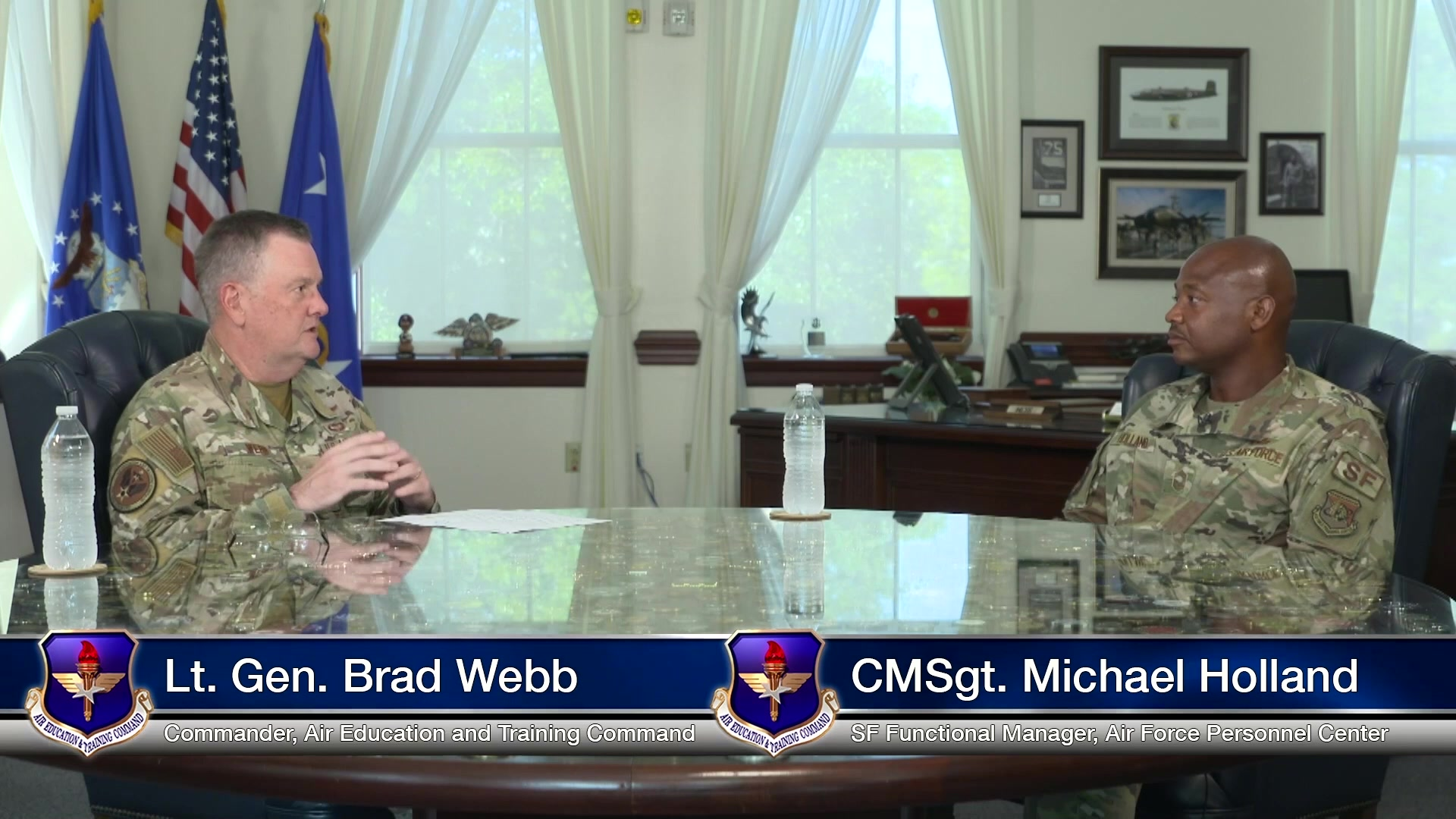 Lt. Gen. Brad Webb, commander of Air Education and Training Command, and CMSgt Michael Holland, Security Forces functional manager at Air Force Personnel Center, engage in conversations on race and diversity in the Air Force. CMSgt Holland also discusses his unique experiences as an enlisted Airman.