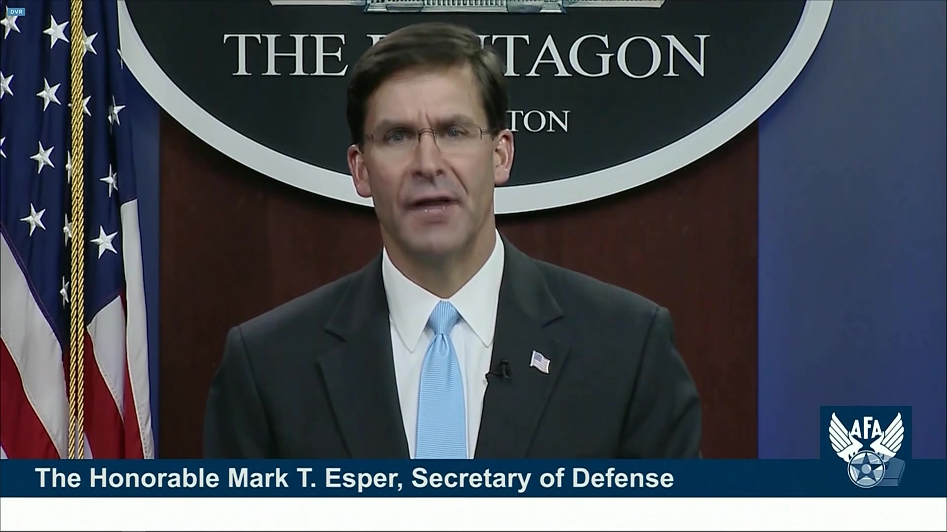 Defense Secretary Dr. Mark T. Esper speaks at the Air Force Association's 2020 Virtual Air, Space and Cyber Conference at National Harbor, Md., Sept. 16, 2020.