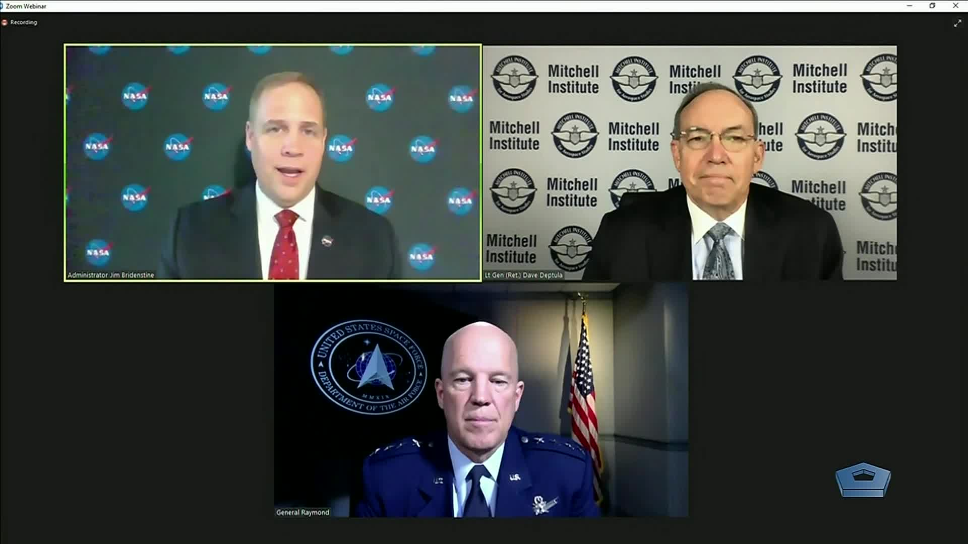 """Space Force Gen. John W. """"Jay"""" Raymond discusses the partnership between NASA and the Space Force at the AFA Mitchell Institute's Space Power Forum, Sept. 22, 2020."""