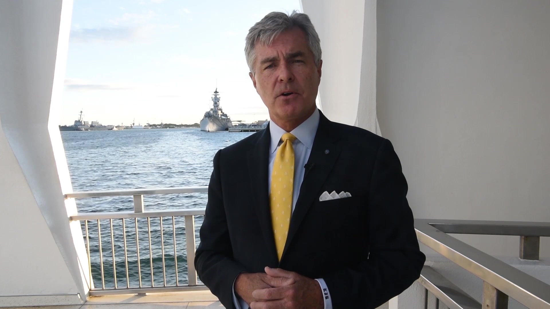 Secretary of the Navy Kenneth J. Braithwaite delivers a birthday message to the Navy. (U.S. Navy video by Mass Communication Specialist 2nd Class Alexander C. Kubitza/Released)