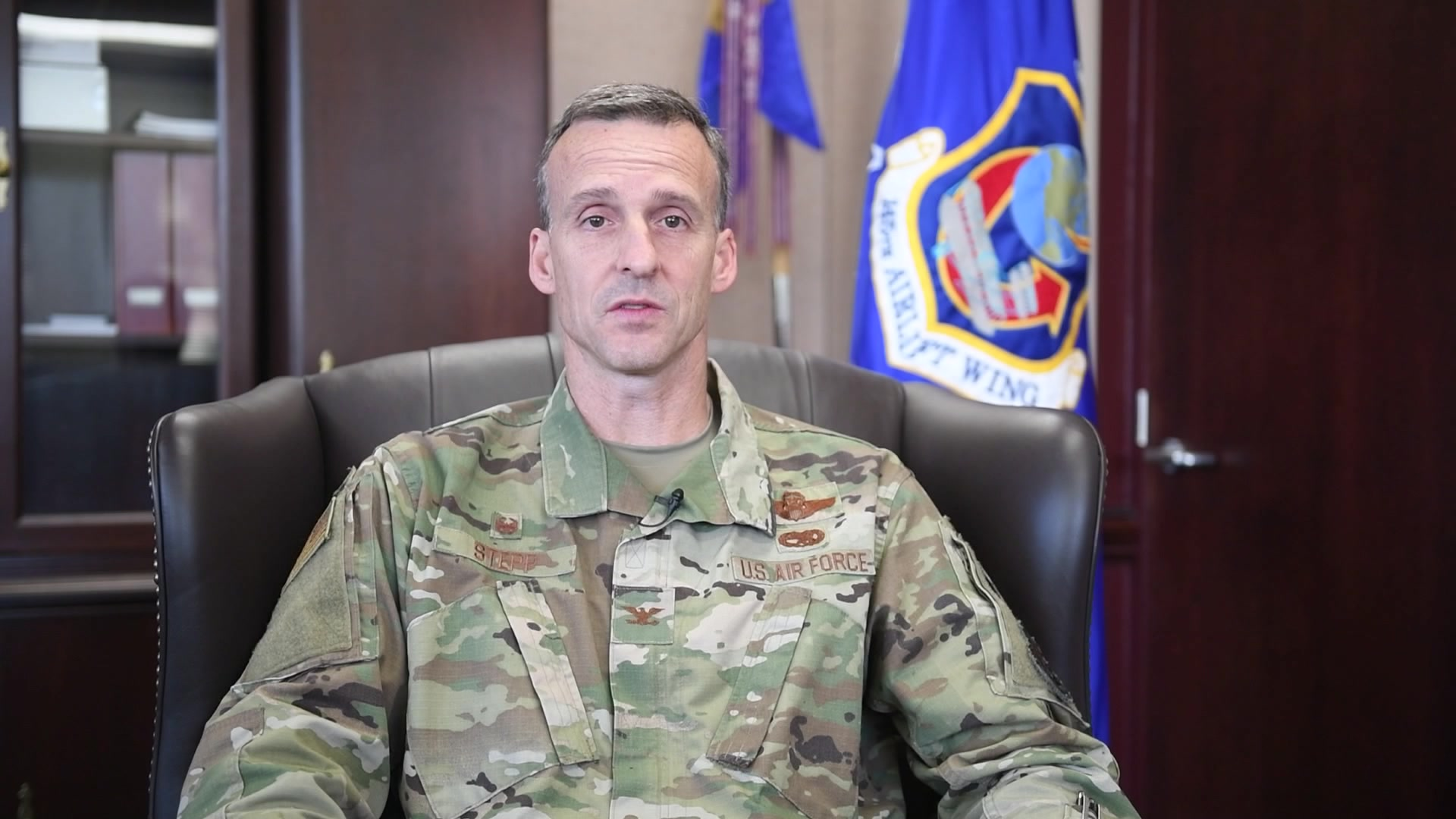 Commander of the 145th Airlift Wing, Colonel Joseph H. Stepp IV delivers a pre-drill video message to Airmen as a way to connect during COVID measures.