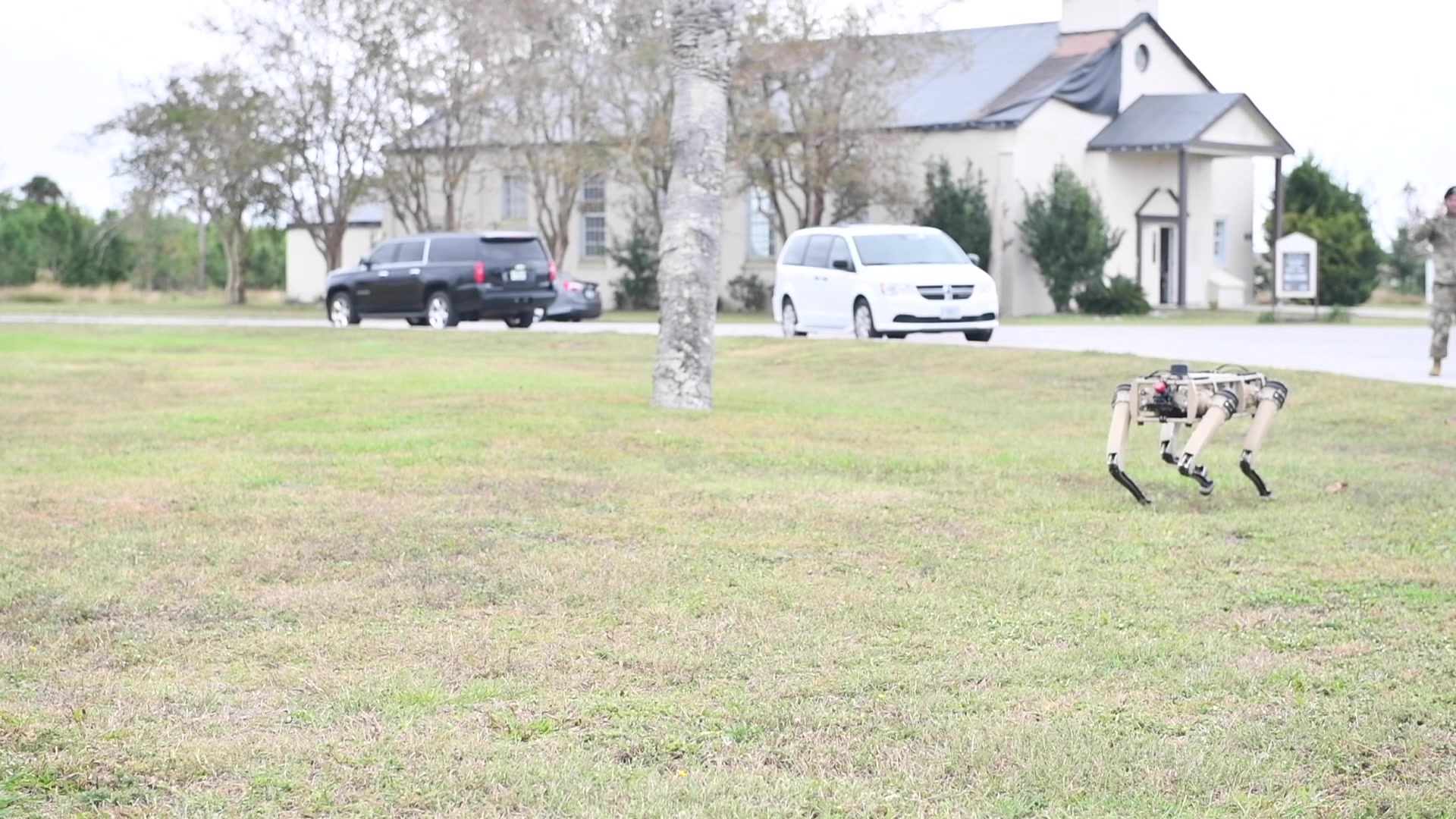 Video of semi-autonomous robot dogs at Tyndall Air Force Base.
