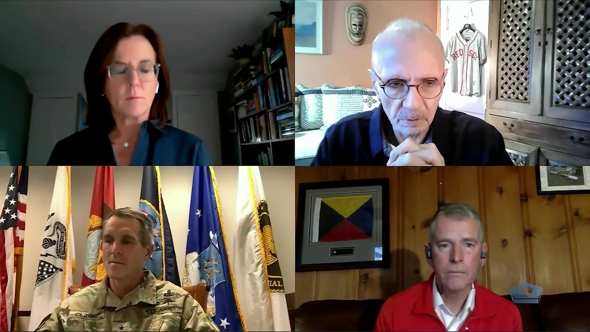 Army Gen. Richard D. Clarke, U.S. Special Operations Command commander, speaks virtually with Hudson Institute scholars Dr. Nadia Schadlow and Bryan Clark about Socom's role in advancing employment of artificial intelligence and machine learning in the Department of Defense, Dec. 7, 2020.