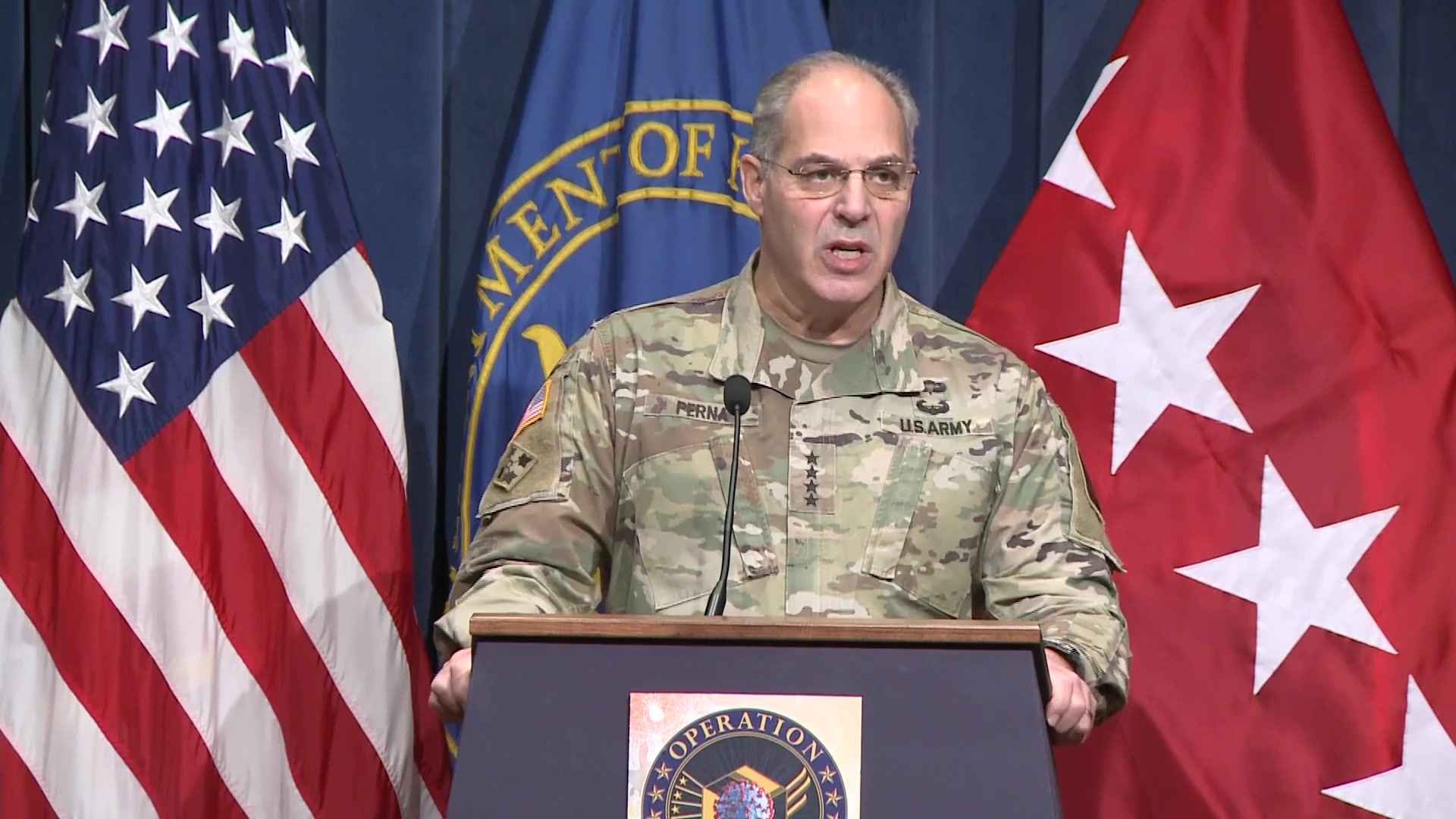Army Gen. Gus F. Perna, chief operating officer of Operation Warp Speed, briefs the media on Operation Warp Speed and the distribution of the Moderna COVID-19 vaccine, Dec. 19, 2020.