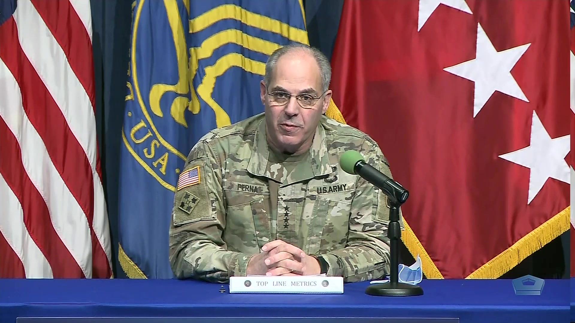 Army Gen. Gustave F. Perna, chief operating officer of Operation Warp Speed, and Dr. Moncef Slaoui, chief advisor to Operation Warp Speed, brief the media on Operation Warp Speed and COVID-19 vaccine distribution, Dec. 30, 2020.