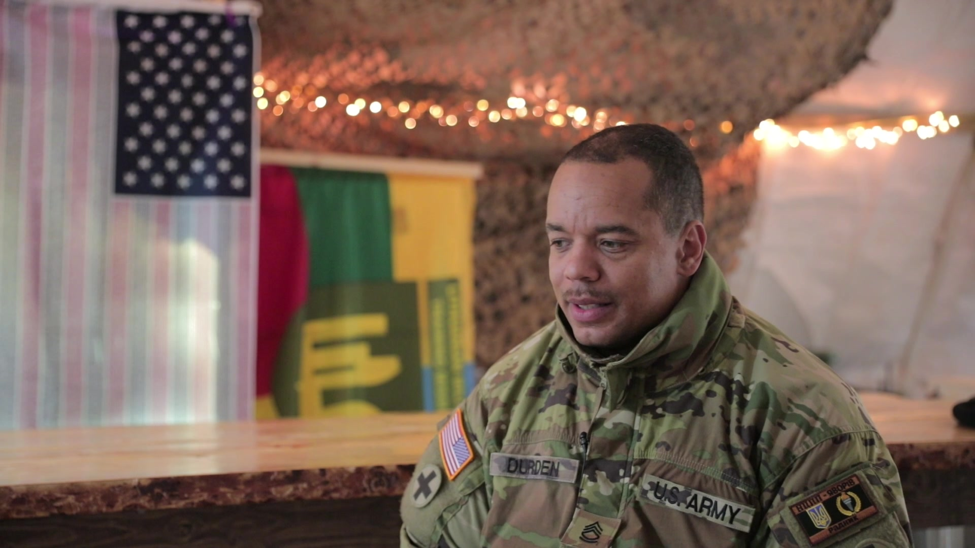 SFC Theodore Durden promotes a message of resiliency and dedication during mobilization to Ukraine.