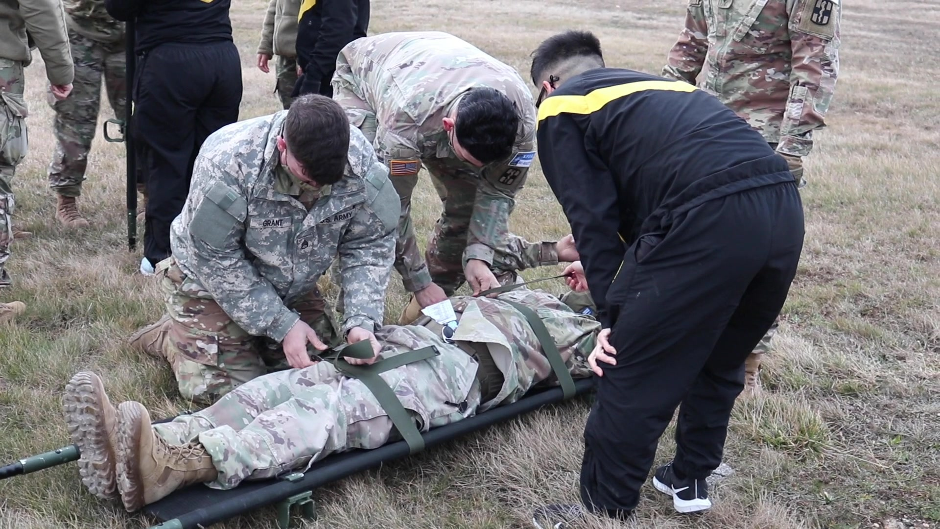 U.S. Army Soldiers with the 566th Medical Company (Area Support) out of Fort Hood Texas, train on aviation medical evacuation procedures with the 1st Battalion, 168th General Support Aviation Battalion, Washington Army National Guard. The training covered a variety of MEDEVAC methods, including litter carries and hoist lifts. (U.S. Army National Guard video by Sgt. Jonathan Perdelwitz)