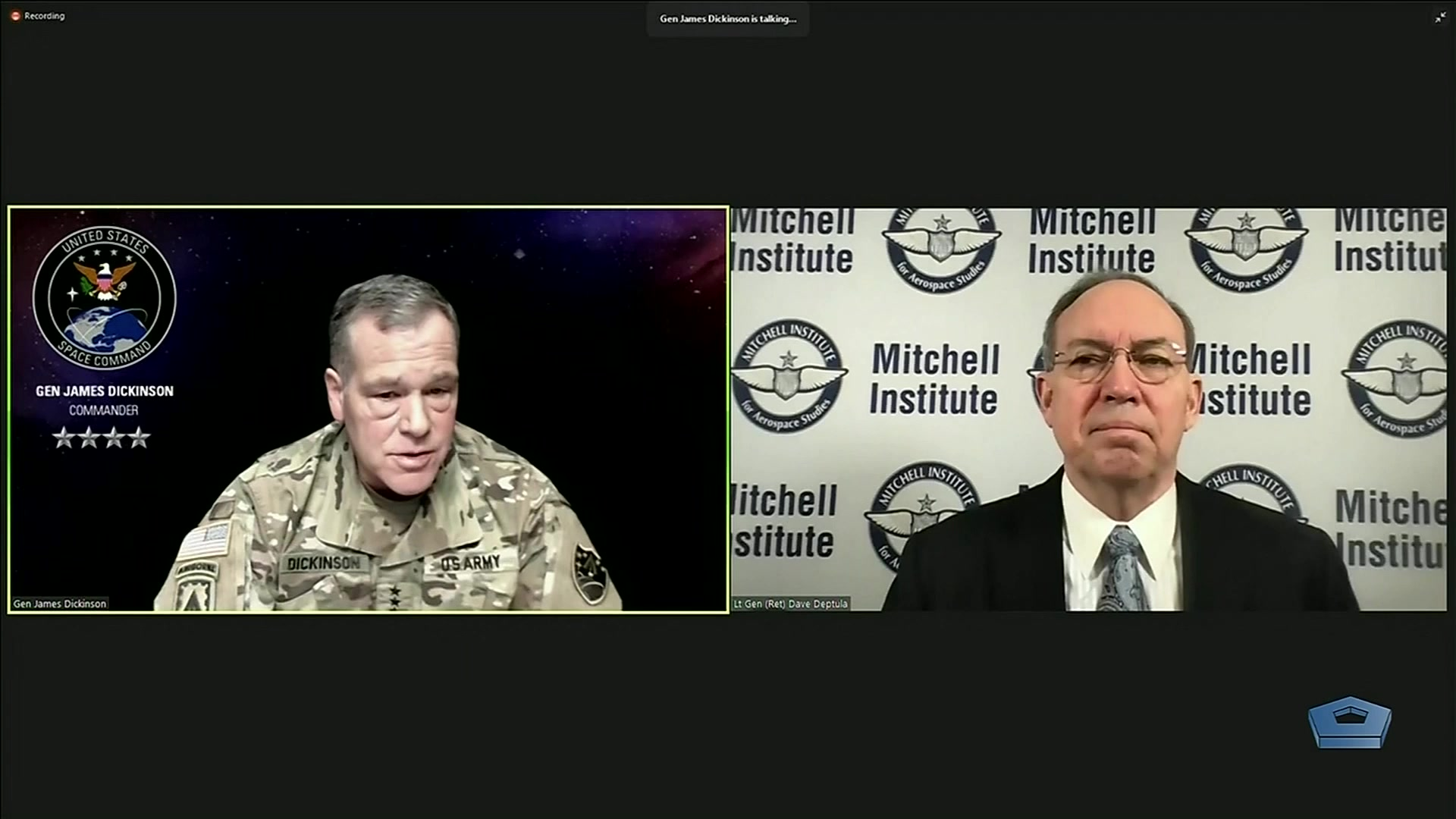 Army Gen. James H. Dickinson, commander of U.S. Space Command, participates in a live virtual Aerospace Nation event hosted by the Mitchell Institute, Jan. 26, 2021.
