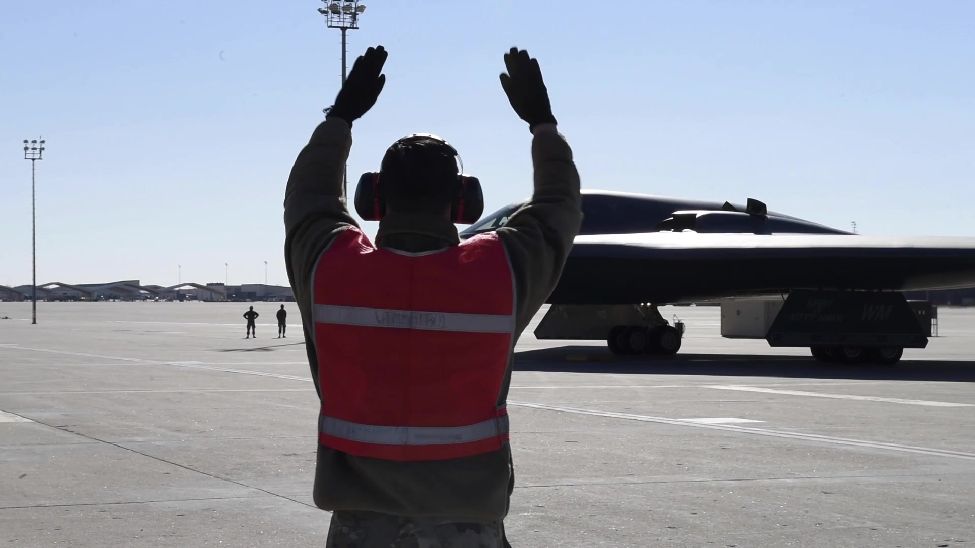 Members of the 509th Operation Support Squadron board their aircraft at Whiteman Air Force Base, Missouri, Feb. 3, 2021. B-roll package includes pilots walking to aircraft, speaking with crew chiefs, and a B-2 Spirit stealth bomber taxiing. (U.S. Air Force video by Airman 1st Class Christina Carter)