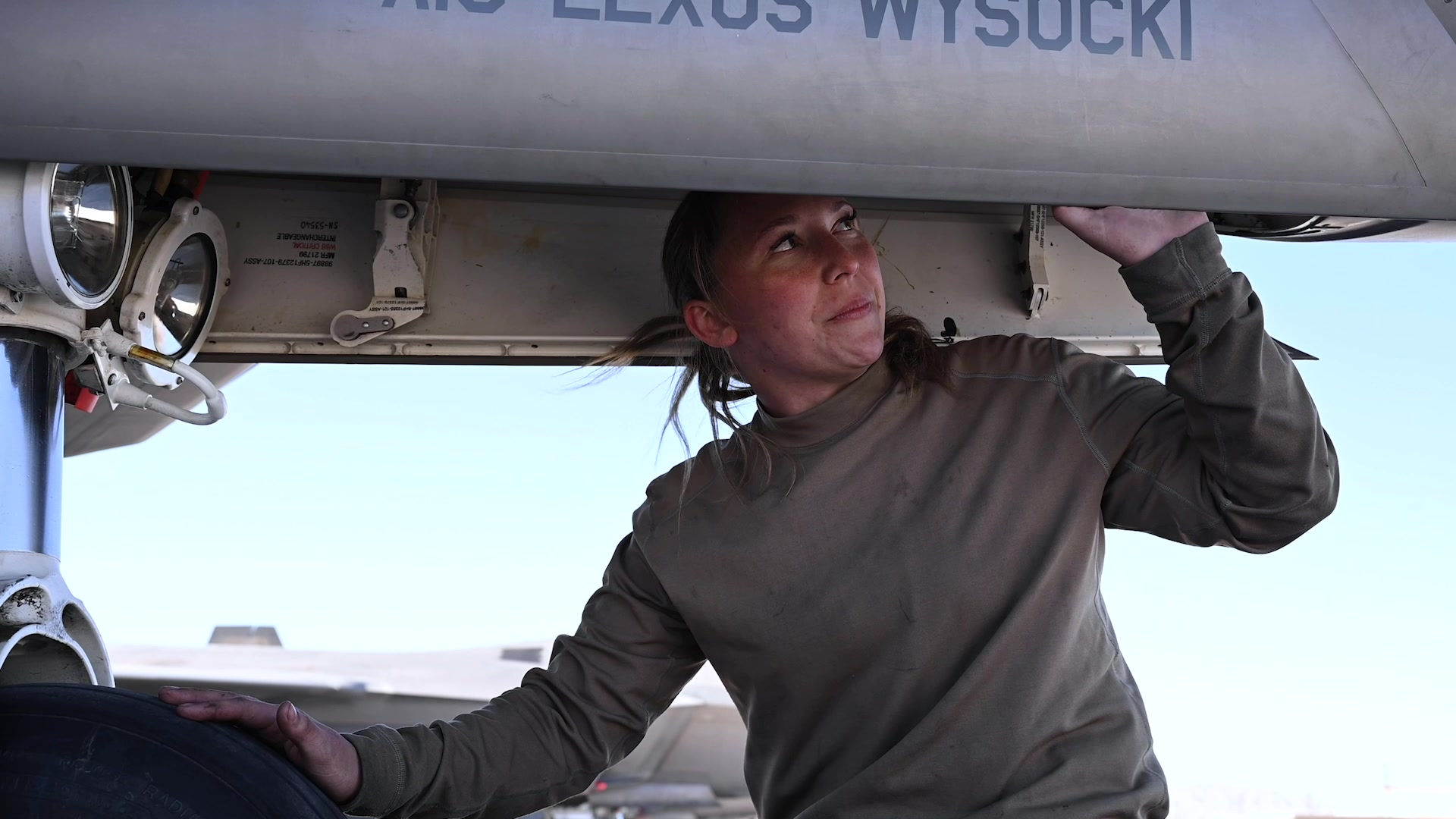 Video of Airman First Class Alexus Wysocki, crew chief on participating in her first Red Flag