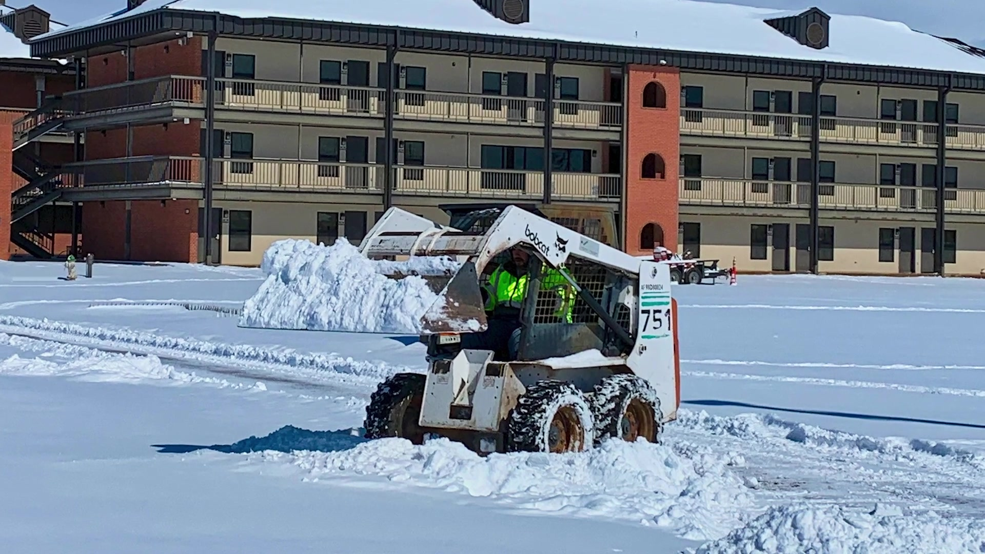 Goodfellow AFB and the San Angelo community broke multiple records with historic snowfall (10 inches) and record low temperatures over the weekend. Members from the 17th Civil Engineer Squadron conducted operations to clear the snow and ice off the roads and troop-walks to ensure safe travel across the base.   Dorm residents shoveled snow at their buildings.  Goodfellow is working hard to restore its services, recover from this treacherous weather, and resume its training mission.