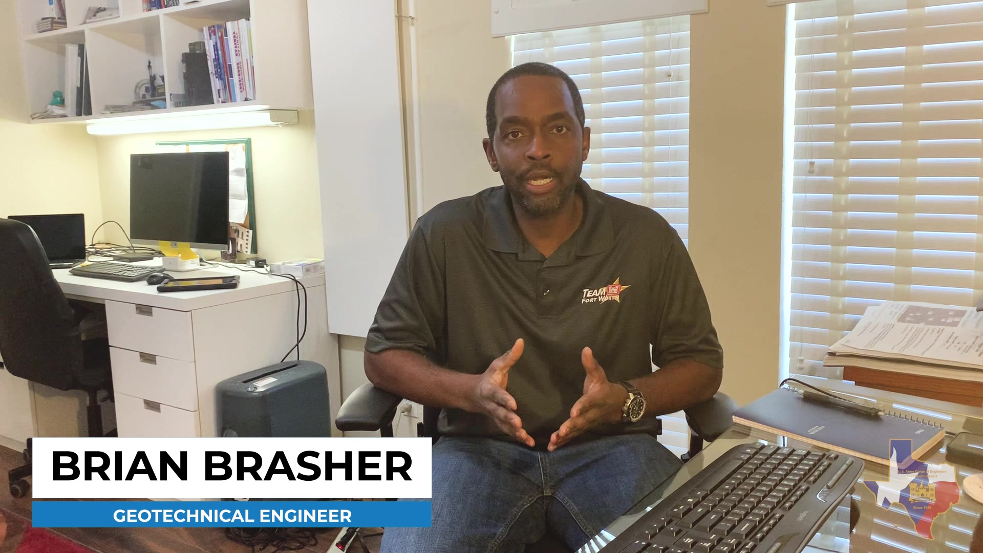 Brian Brasher, Geotechnical Engineer, was inspired to become an engineer while working in his father's electronics workshop building computers. His fascination with science and technology made joining USACE Fort Worth his obvious choice.