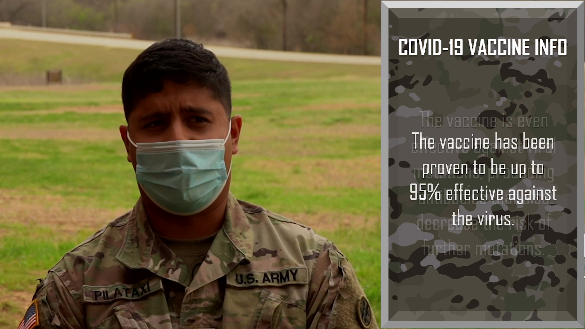 Soldiers of the 4th Sustainment Command (Expeditionary) discuss their reasons for receiving the COVID-19 vaccination during their ongoing COVID-19 response mission in support of the 377th Theater Sustainment Command and U.S. Army North.