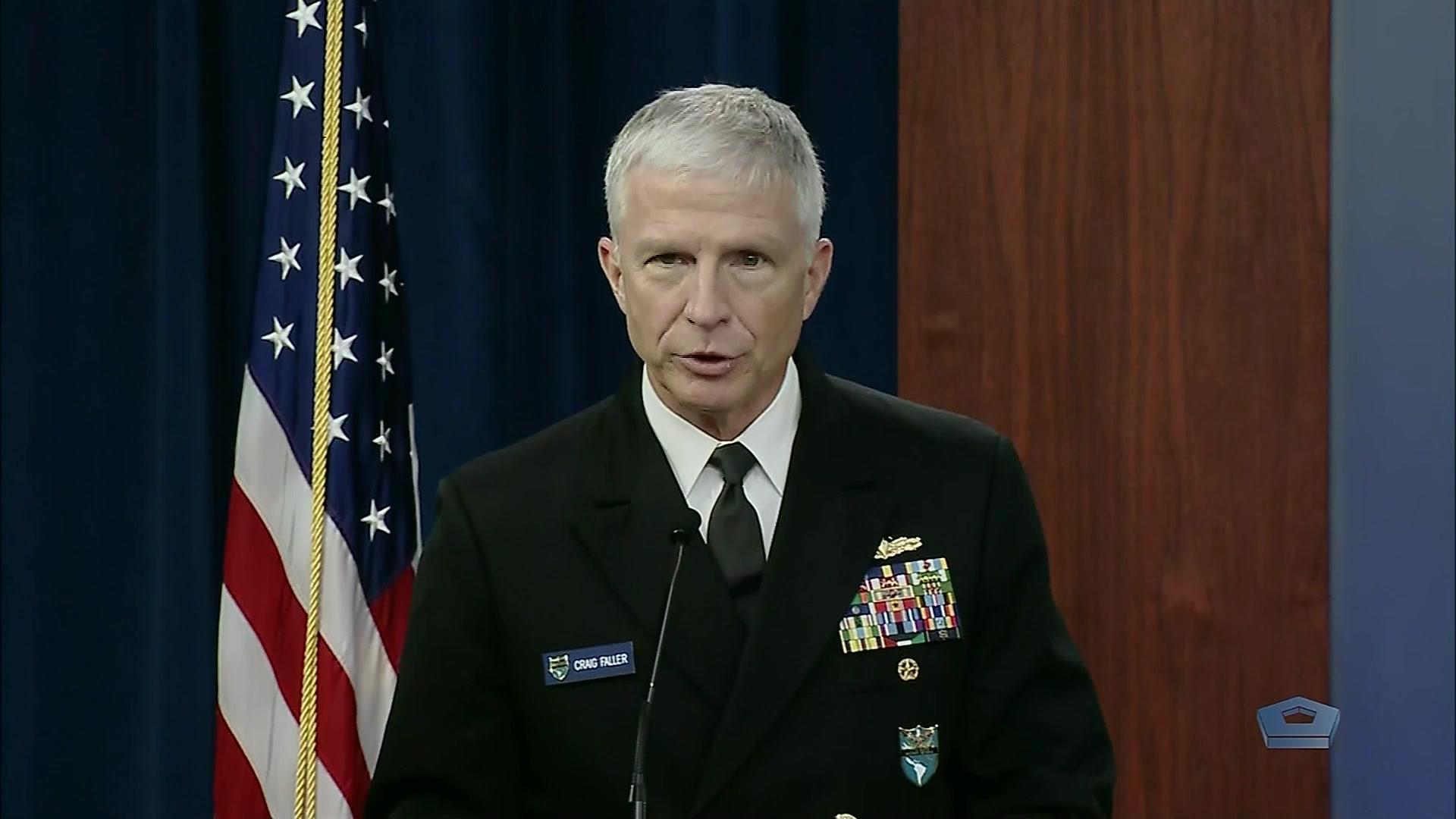 Air Force Gen. Glen D. VanHerck, U.S. Northern Command commander, and Navy Adm. Craig S. Faller, U.S. Southern Command commander, brief the news media at the Pentagon, March 16, 2021.