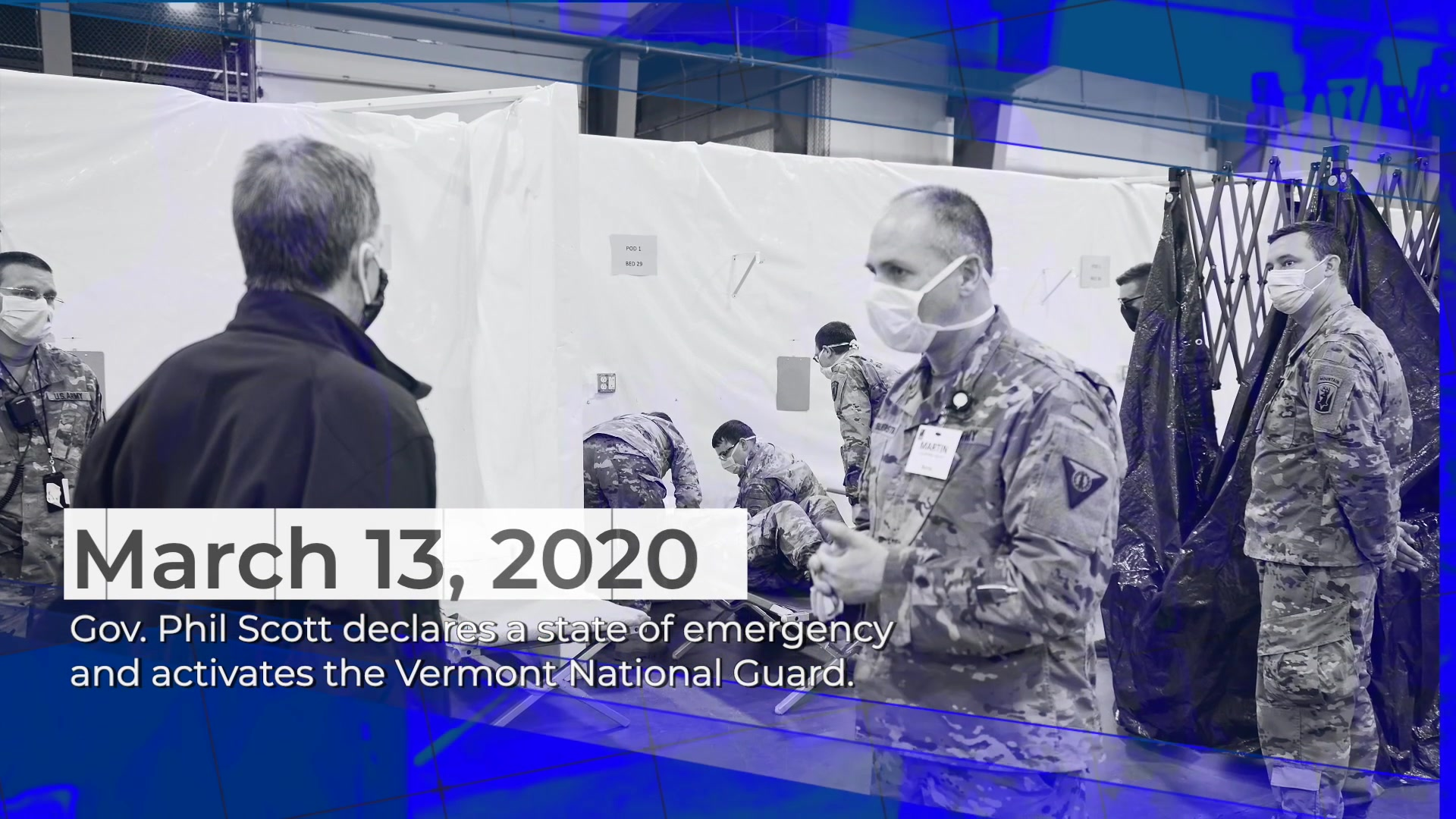 One year ago today, Vermont National Guardsmen began constructing medical surge facilities for the first time to help limit the spread of COVID-19, but the support didn't stop there. Let's honor and recognize the continued hard work of our Airmen and Soldiers on this anniversary of their initial activation during the ongoing worldwide pandemic. We continue to be #InThisTogether.