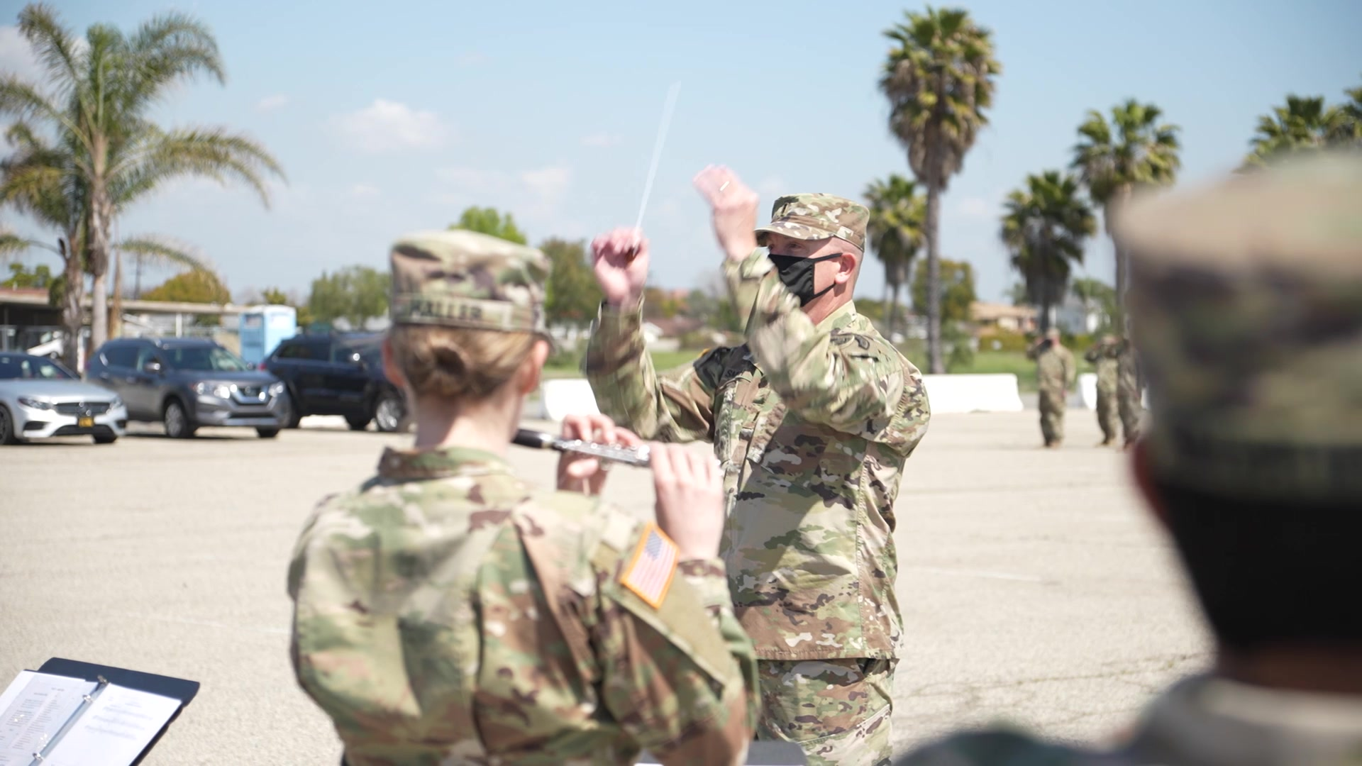 Soldiers from the 311th Expeditionary Sustainment Command attend their uncasing ceremony on Joint Forces Training Base in Los Alamitos, CA, which commemorates their recent deployment to the Middle East.
