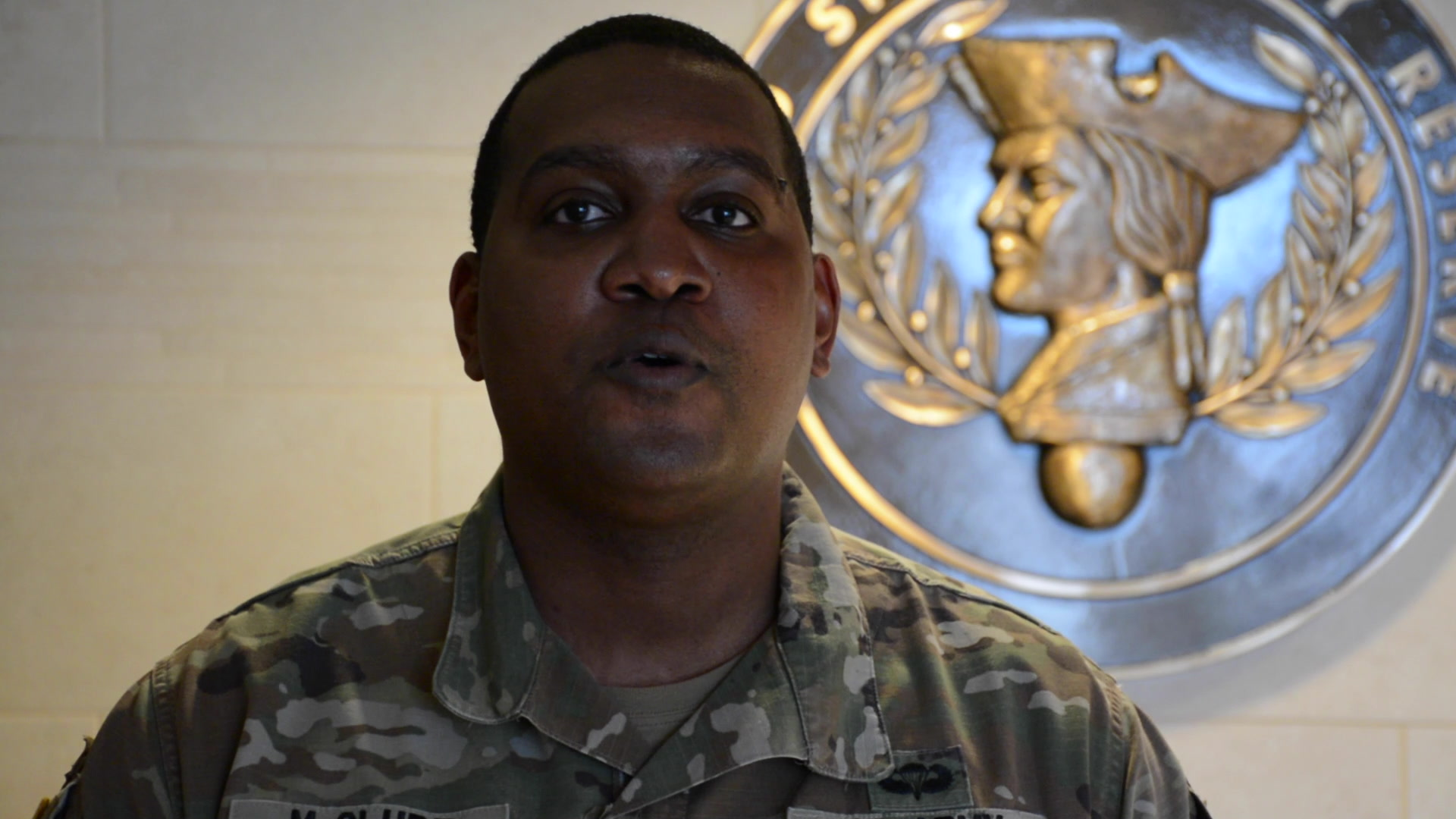 MAJ Christopher McClure, a logistician officer assigned to the 561st Regional Support Group (RSG), tells why he serves in the U.S Army Reserve at the Omaha reserve center, Elkhorn, NE March 28, 2021. The United States Army Reserve Command (USARC) is highlighting Soldiers' stories and how serving in the Army reserve affects Soldiers' civilian careers.