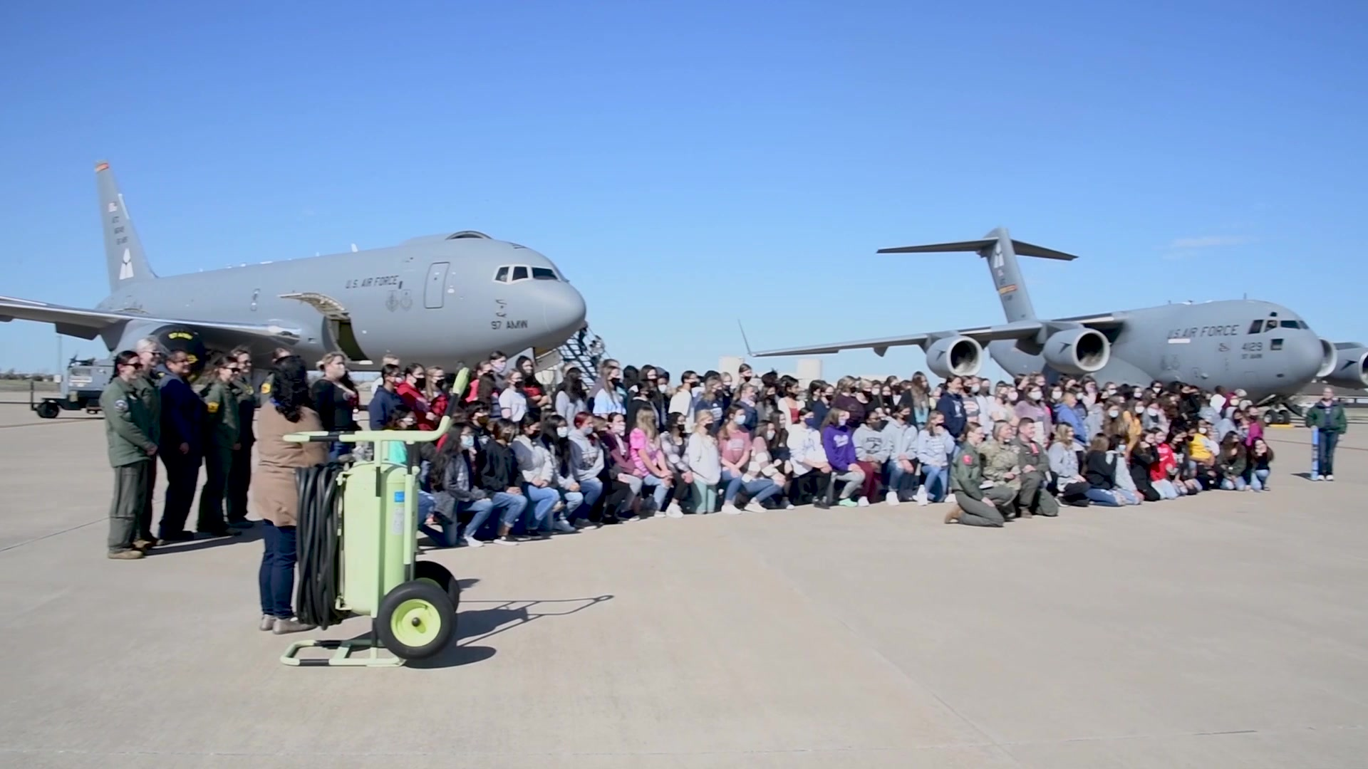 Female warriors from around the Air force spoke about the significance of women's history month. In addition to the wing's all-female flight, Airmen from Dyess, Holloman, Laughlin, Vance, and Sheppard Air Force Base joined the Mighty 97th to showcase 15 aircraft and celebrate airpower with 200 local students.