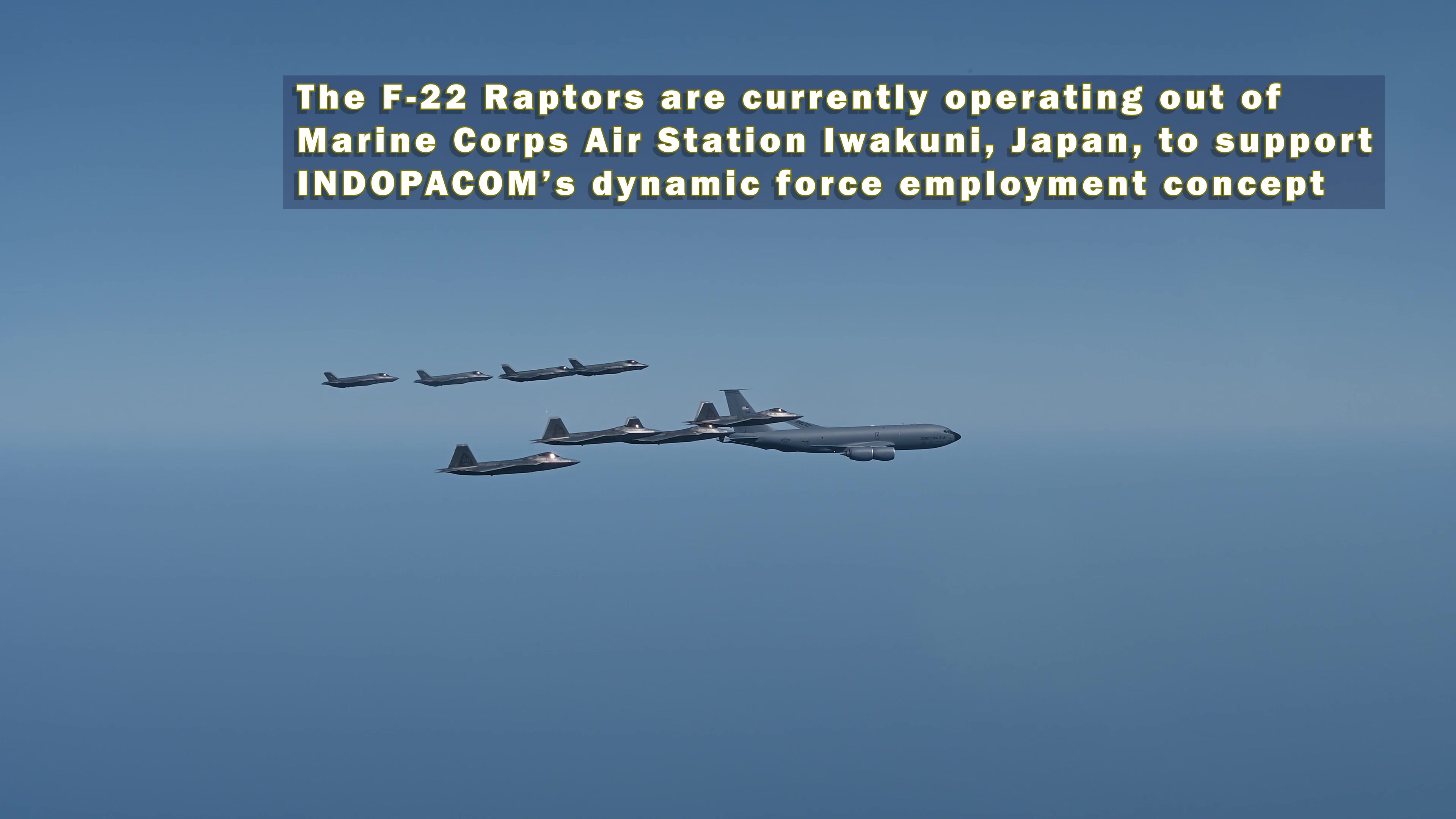 U.S. Air Force F-22 Raptors from the 199th Fighter Squadron and Japan Air Self-Defense Force F-35A Lightning II aircraft from the 302nd Tactical Fighter Squadron fly alongside a USAF KC-135 Stratotanker from the 909th Air Refueling Squadron during 5th generation fighter training near Japan, Apr. 1, 2021. The F-22 Raptors are currently operating out of Marine Corps Air Station Iwakuni, Japan, to support U.S. Indo-Pacific Command's dynamic force employment concept. U.S. and Japanese forces train and operate together regularly, employing a full spectrum of joint and bilateral capabilities, to defend Japan and support a secure and stable Indo-Pacific region. (U.S. Air Force photo by Staff Sgt. Matthew Kakaris)