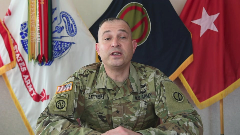 Brig. Gen. Ernest Litynski, Commanding General, 85th U.S. Army Reserve Support Command, speaks on the Army Values, dignity and respect and protecting our people.