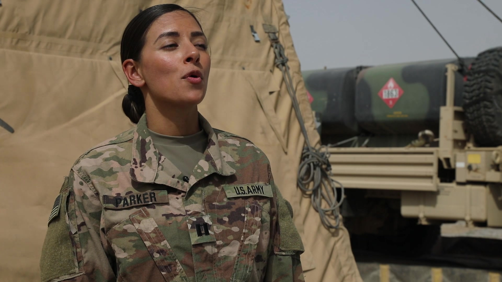 Capt. Stephanie Parker serves as the G-1 Deputy Chief for the 1st Theater Sustainment Command at Camp Arifjan, Kuwait. This is her story about why she continues to serve as a U.S. Army Soldier. (U.S. Army Video by Staff Sgt. Neil McCabe, 1st TSC Public Affairs)