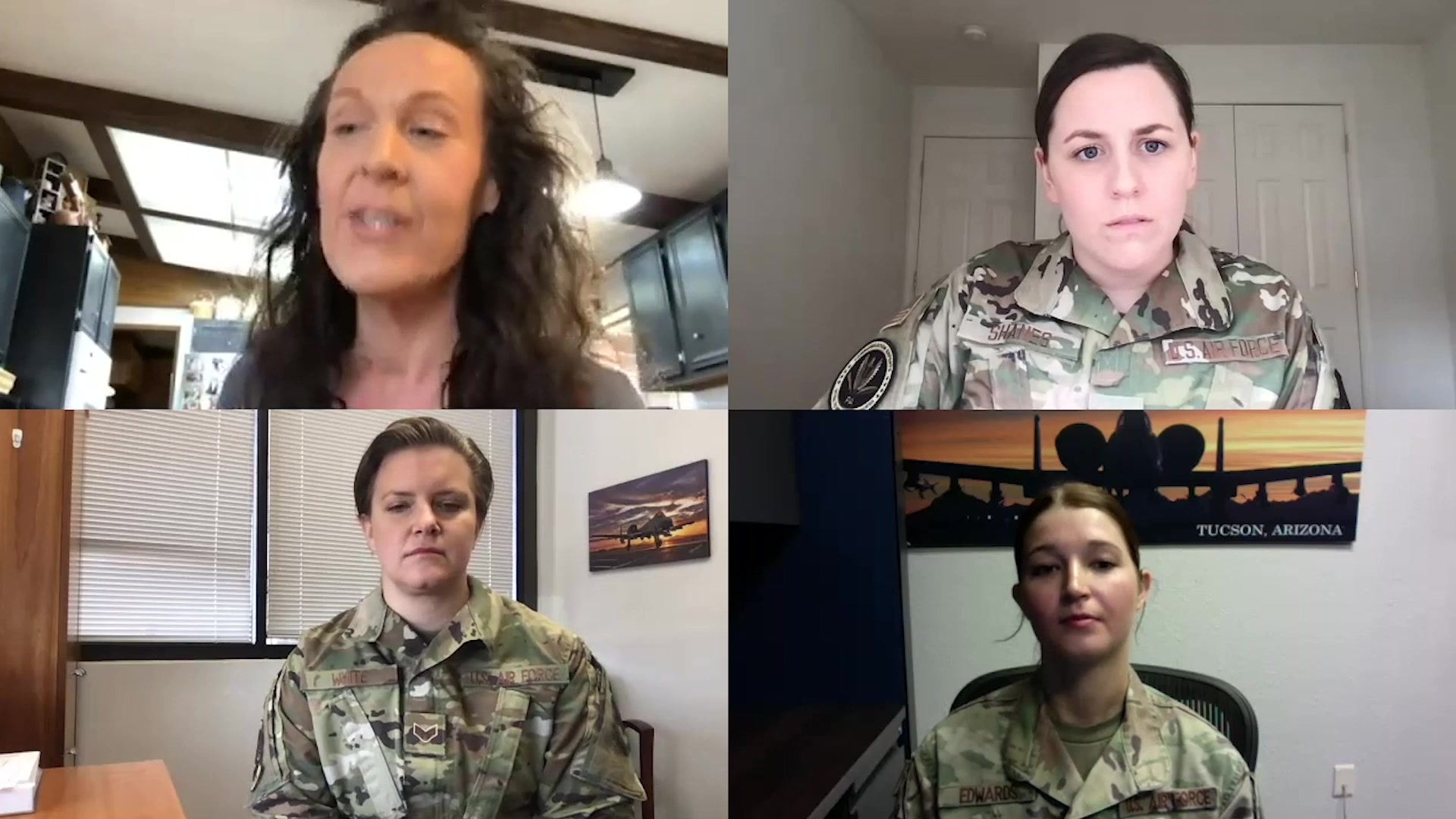 Vidoe of former A1C speaking to three current Airmen about sexual harassment she experienced