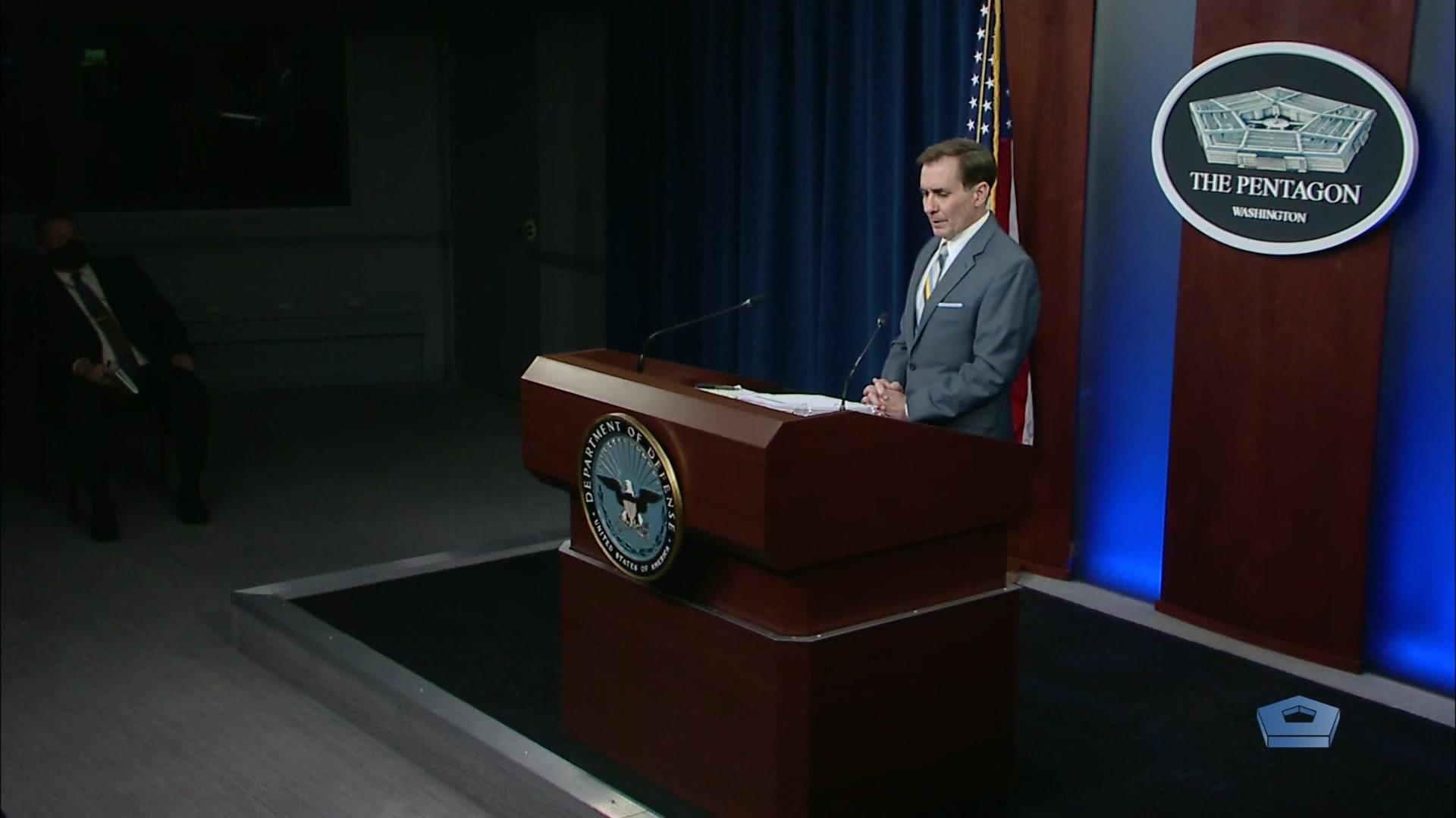 Pentagon Press Secretary John F. Kirby briefs the media at the Pentagon, May 5, 2021.