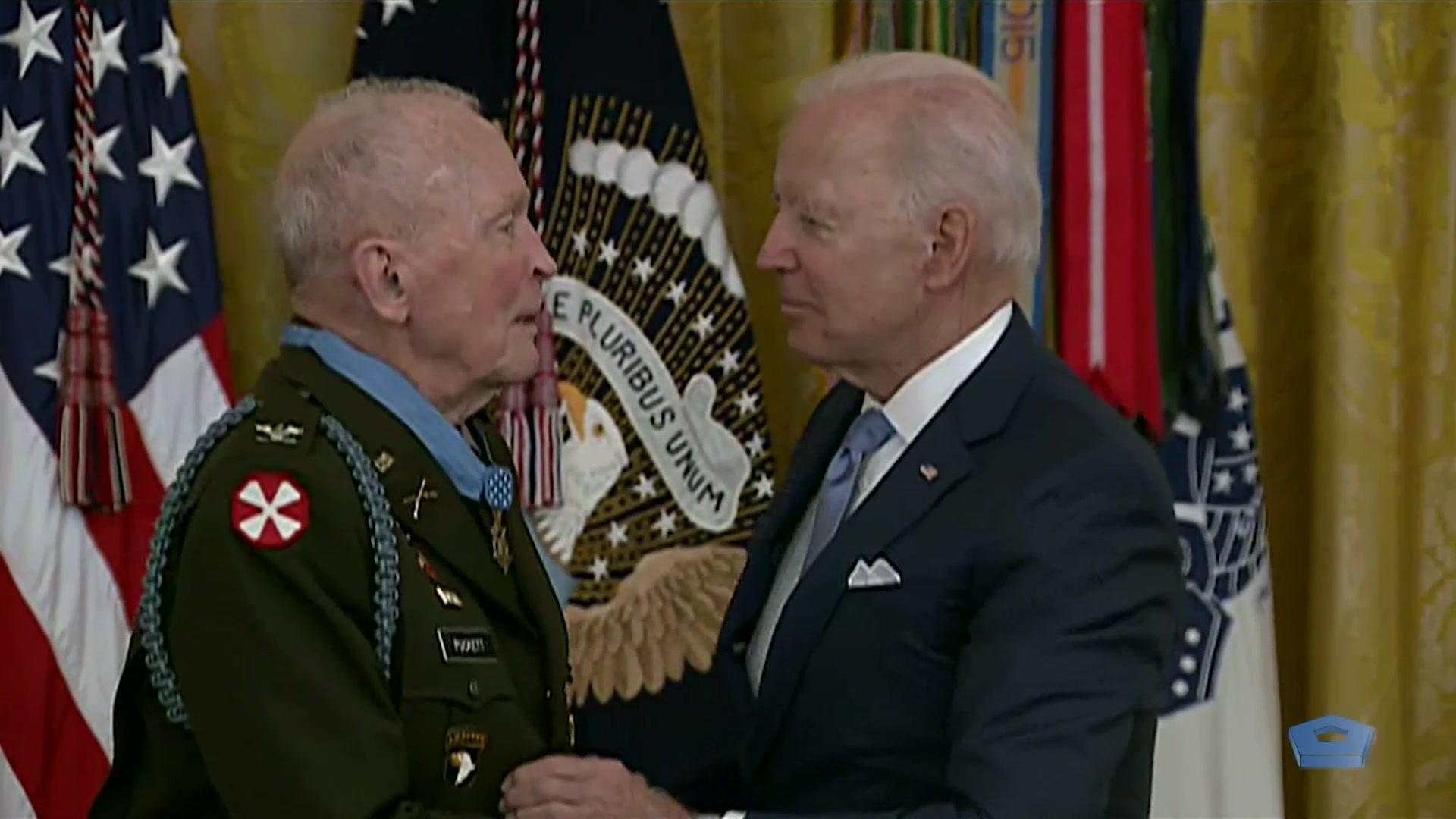 President Joe Biden presents the Medal of Honor to retired Army Col. Ralph Puckett Jr. for conspicuous gallantry during the Korean War, May 21, 2021. South Korean President Moon Jae-in is in attendance.