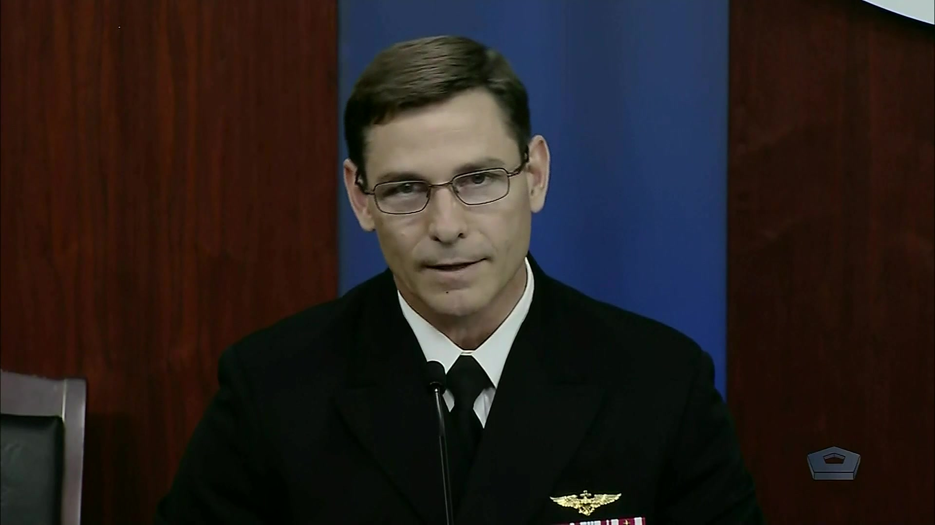 Navy Rear Adm. John Gumbleton, deputy assistant secretary of the Navy for budget briefs the news media on President Joe Biden's fiscal 2022 defense budget, May 28, 2021.