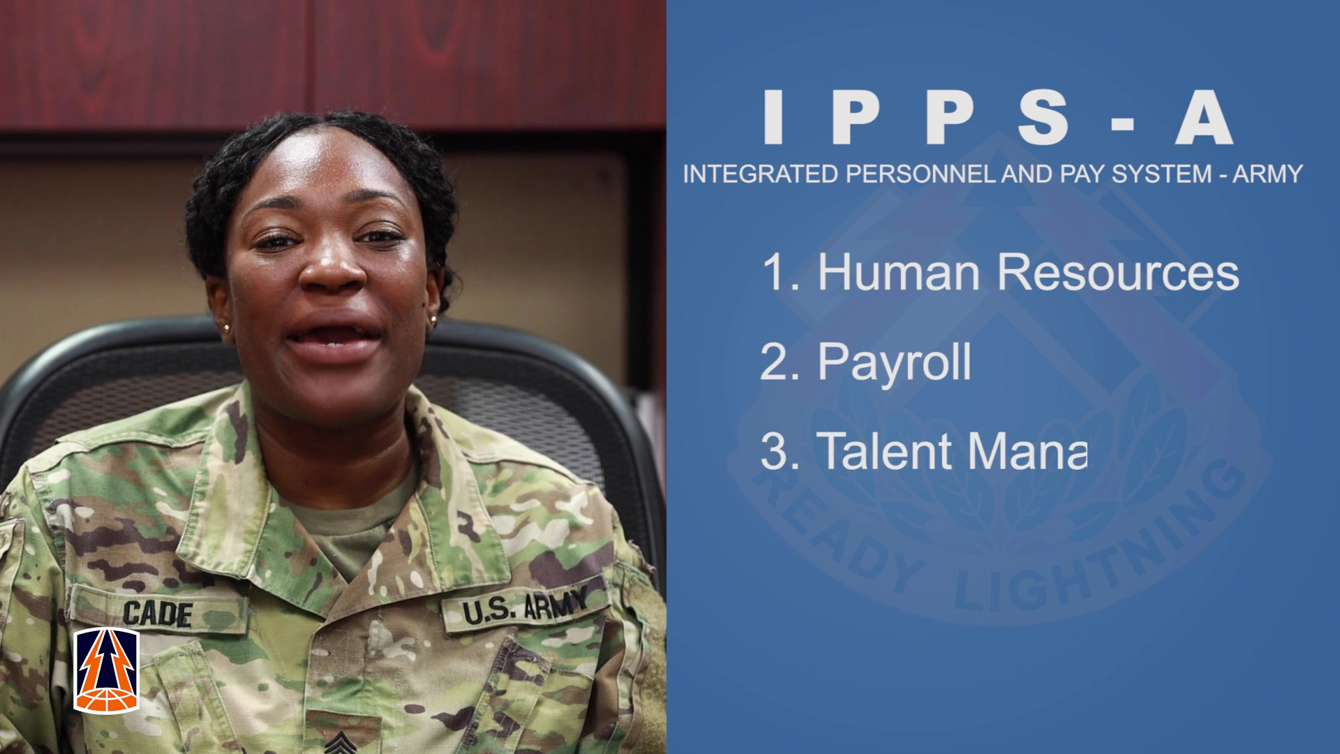 """The 335th Signal Command (Theater) is getting """"so excited"""" about the upcoming release of IPPS-A, the Integrated Personnel and Pay System - Army. Members of our G1 section share some of the ways that IPPS-A will improve Army human resource systems. Take a look!  (U.S. Army Reserve video by Staff Sgt. Leron Richards)"""