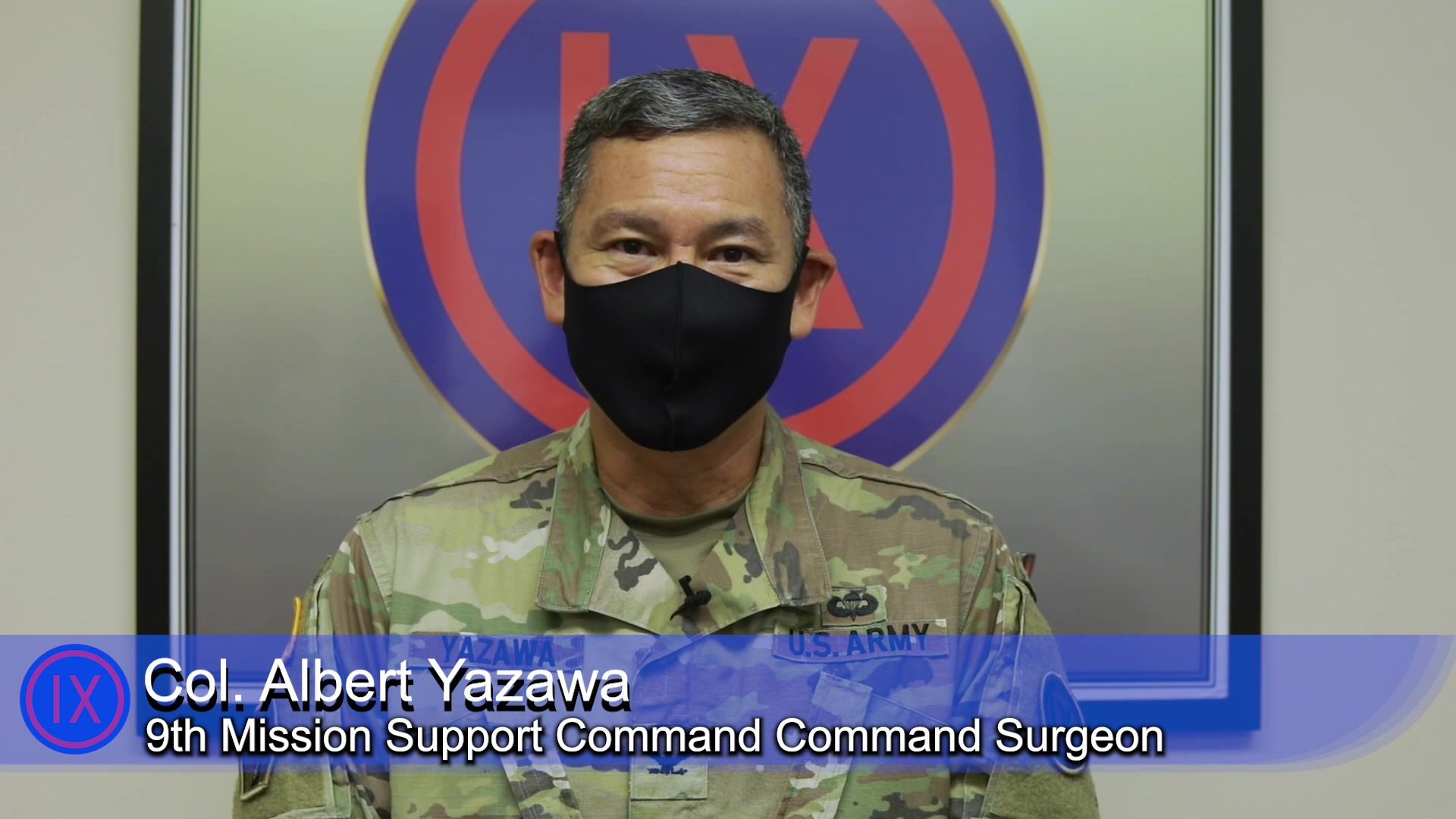 9th Mission Support Command Command Surgeon Col. Albert Yazawa speaks on the importance of 9th MSC service members getting and reporting vaccinations, on August 13 2021 at Fort Shafter Flats, in Honolulu.  Yazawa also addresses the rising case numbers surrounding the COVID-19 delta variant.