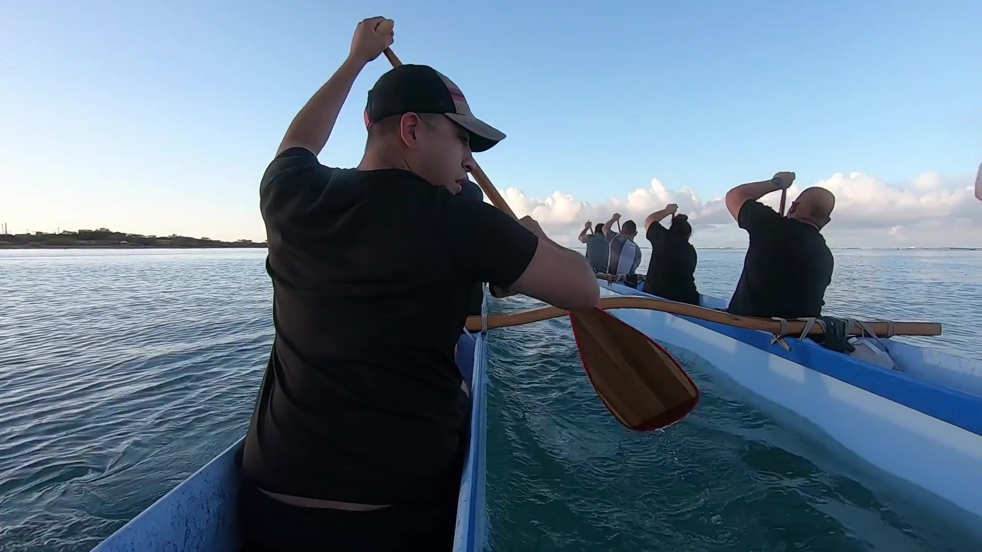 U.S. Army Reserve Soldiers from the 322nd Civil Affairs Brigade enjoy some early morning paddling with the Pacific Pride Paddlers on August 19 2021, at the New Hope Canoe Club in Honolulu. Paddling is a useful way to help build teamwork and encourage friendly competition, while also giving soldiers a sturdy cardio and full body workout.