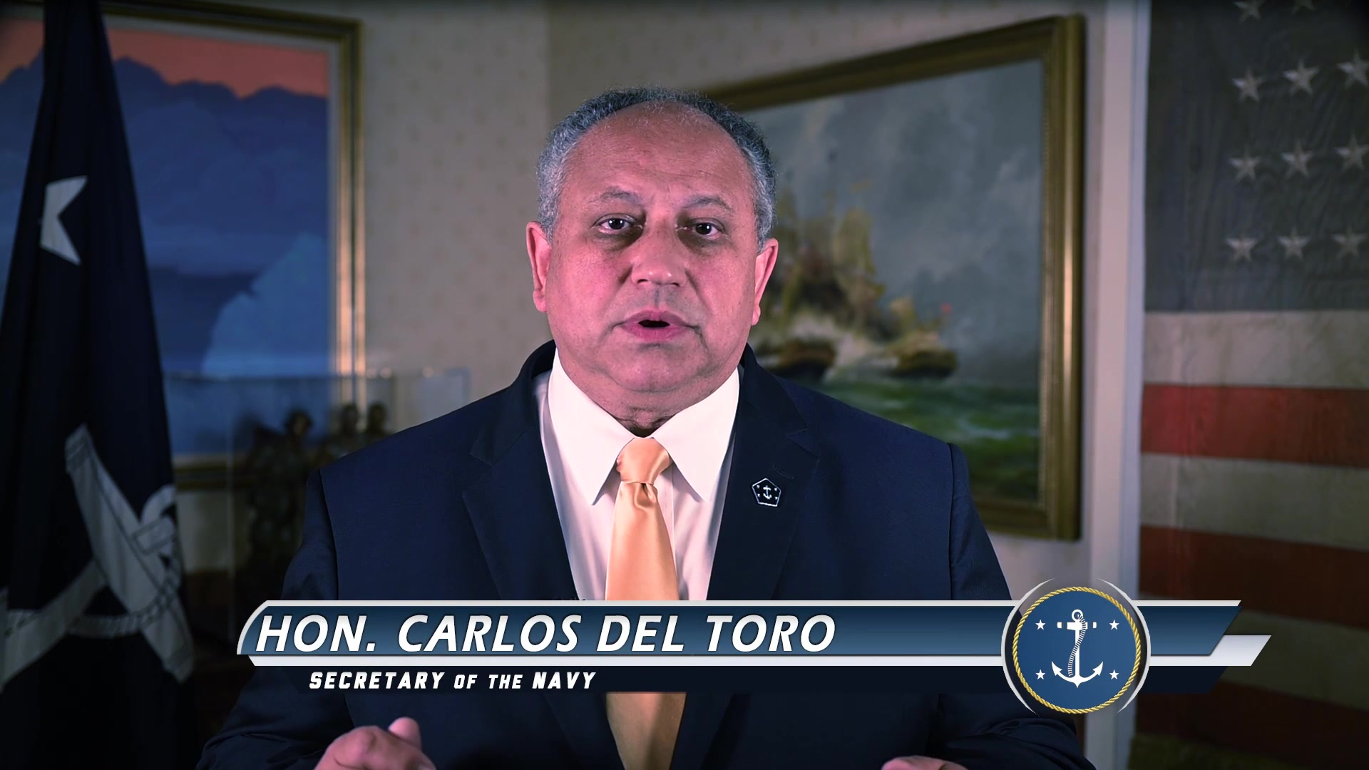 Secretary of the Navy Carlos Del Toro delivers remarks in commemoration of the 20th anniversary of the Sept. 11 attacks.