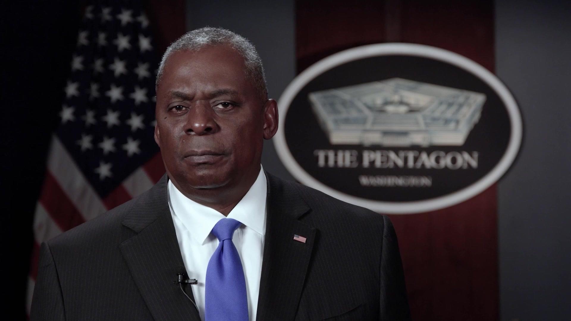 Secretary of Defense Lloyd J. Austin III speaks to the force on the 20th anniversary of Sept. 11, 2001.