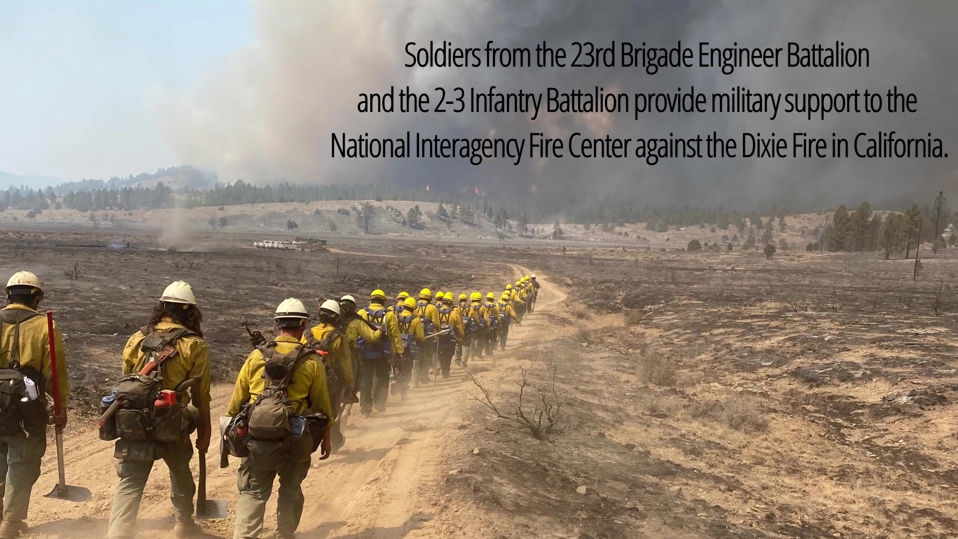 U.S. Army Soldiers from the 23rd Brigade Engineer Battalion and 2-3 Infantry Battalion, both under the 1-2 Stryker Brigade Combat Team and assigned to Joint Base Lewis-McChord, Washington, deploy in support of the Department of Defense wildland firefighting response from Aug. 31 through Sept. 28, 2021. U.S. Army North, as U.S. Northern Command's Joint Force Land Component Command remains committed to providing flexible DoD support to the National Interagency Fire Center to respond quickly and effectively to assist our local, state, and federal partners in protecting people, property, and public lands.