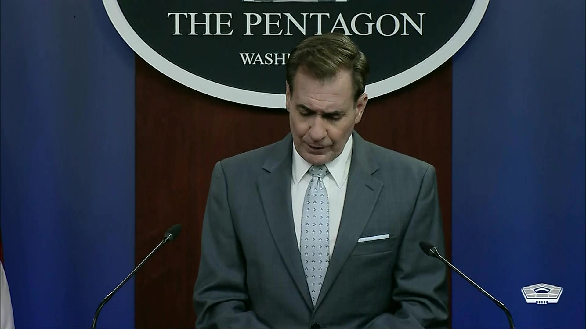 Pentagon Press Secretary John F. Kirby and Air Force Gen. Glen D. VanHerck, commander of North American Aerospace Defense Command and U.S. Northern Command, brief the media at the Pentagon.