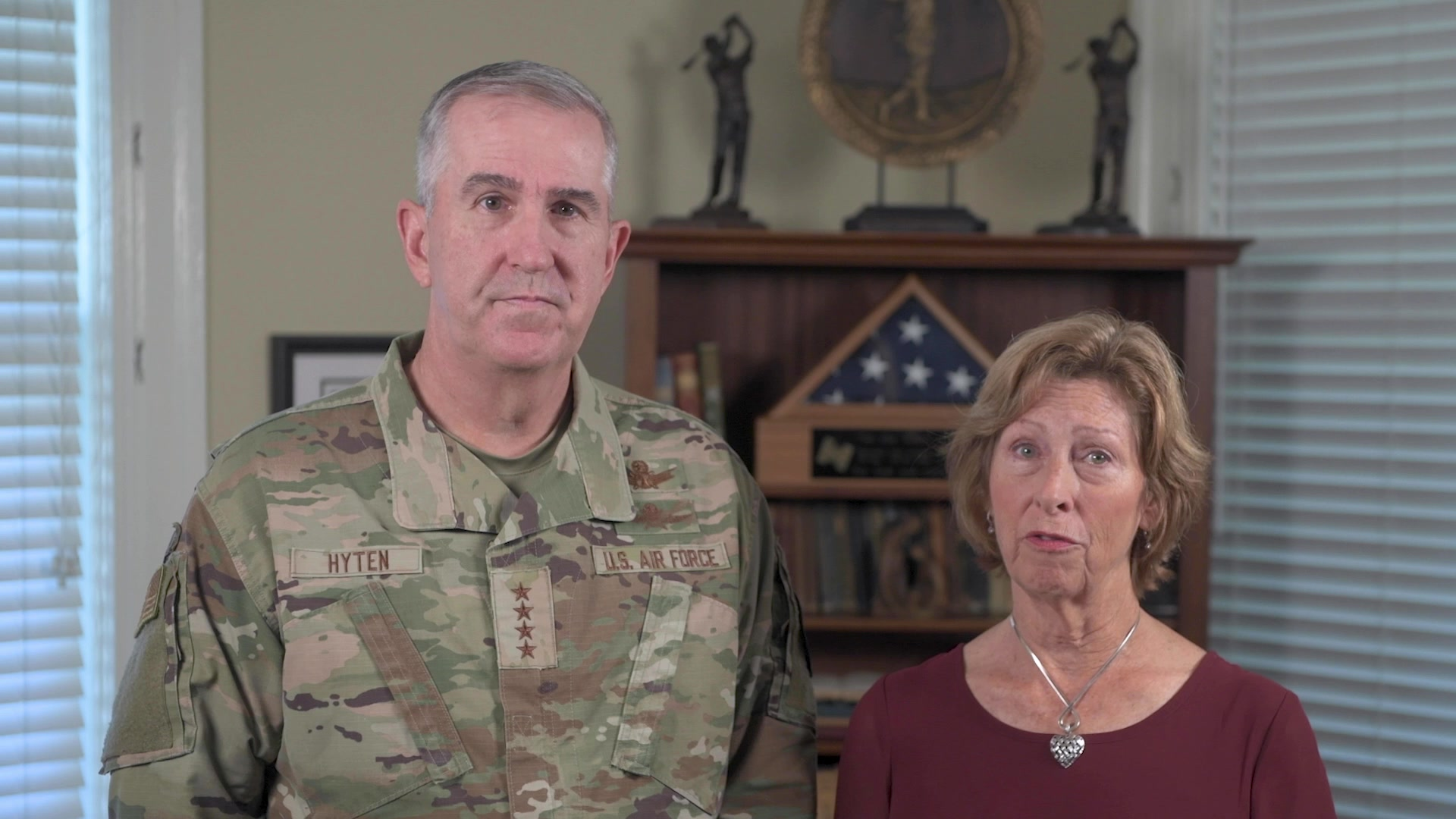 Vice Chairman of the Joint Chiefs of Staff Gen. John E. Hyten and his wife, Laura Hyten, deliver a message for Suicide Prevention Month. (DOD Video by Navy Petty Officer 1st Class Carlos M. Vazquez II)