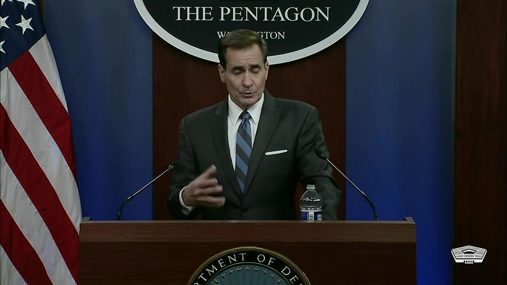 Pentagon Press Secretary John F. Kirby briefs the media at the Pentagon.