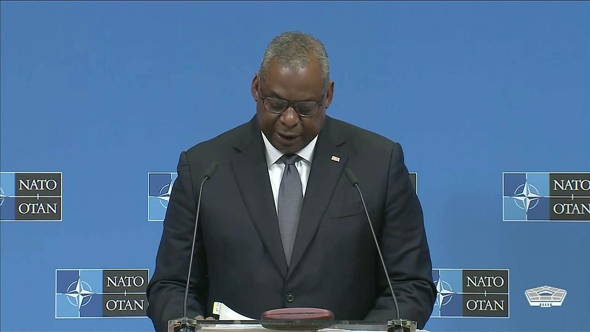 Secretary of Defense Lloyd J. Austin III participates in a NATO press conference in Brussels.