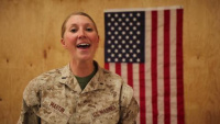 Deployed Marine, 1st Lt. Skye Martin sings national anthem for San Diego Padres