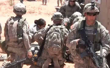 Medical Soldiers of 123rd BSB receive training during a mass casualty event as part of Iron Focus 2014.