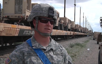 Soldiers of HHC BDE, 4/1 AD conducted Rail  Operations to move vehicles to the National Training Center.