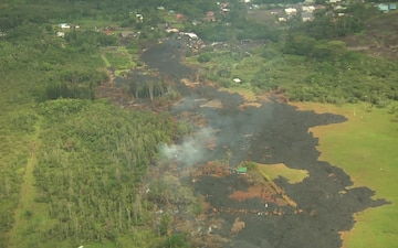 Aerial Views of the Pahoa Lava Flow and Kalapana Road Construction