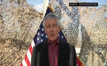 Sec Def Hagel Afghanistan Holiday 2014