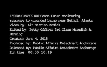 Coast Guard Monitoring Response to Grounded Barge Near Bethel, Alaska