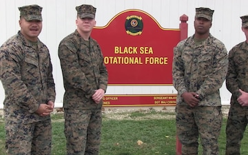 Happy Thanksgiving from Romania!: Sgt. Christain Spinks, Cpl. Afaese Fiataugaluia, Cpl. Hayden Brown, and Cpl. Jeremy Moore give a shout-out to their hometowns