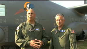 Maj. Gen. Haddad and Col. Bright discuss an AC-130 Flying Mission During Desert Storm