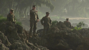 Marines search for debris and assist in search and rescue efforts