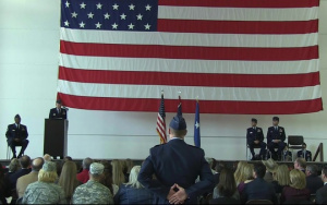 Col. Paul Lyman speaks at 153AW change of command.